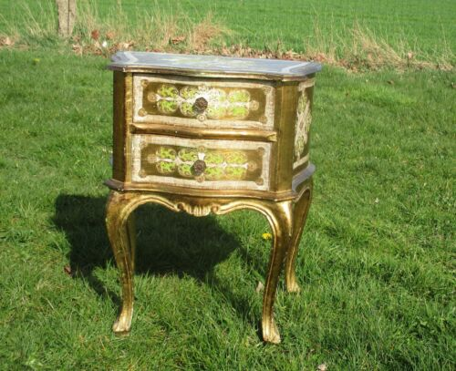 Florentine Wood Gold Gilt Bed Side Table Small Chest Cabinet Hollywood Regency