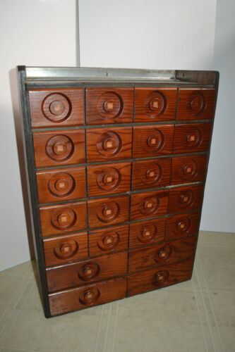 Vtg Wood Antique Spice Apothecary Cabinet Chest Folk Art General Store