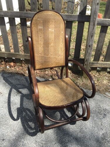 Vintage Bentwood Rocker with Cane Back and Seat Walnut Finish Rocking Chair