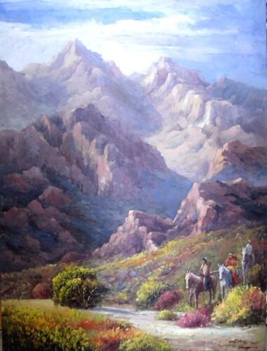 """Hand Painted Art Oil Painting on Canvas 36"""" x 48"""" The Purple Hills Trail"""
