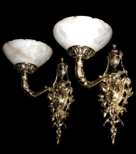 Alabaster wall lights sconces solid bronze custom made by Sergio Merlin Lighting