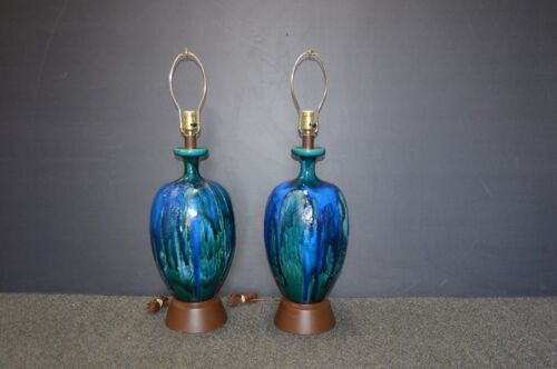 Pair of Mid Century Modern Blue Green Drip Pottery Lamps