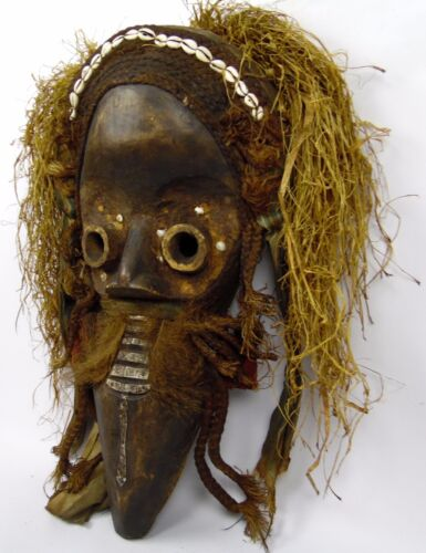 "Antique AFRICA LIBERA 26"" Carved Wood Cowrie Shell Taxidermy DAN Protection Mask"