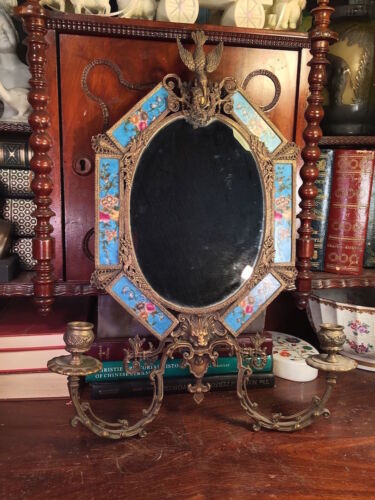 """ VINTAGE ORMOLU STYLE OF BRONZE & PORCELAIN MOUNTED MIRROR VERY NICE DETAILS  """