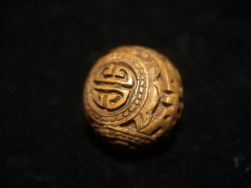 Vintage Carved Chinese Wood bead Intricate Lucky Shou Design carving 21mm