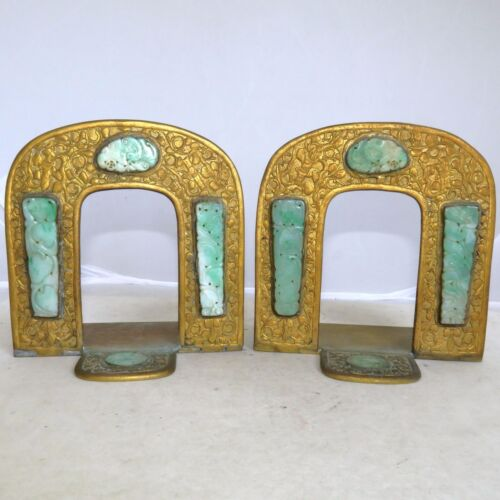 "Pair 4.8"" Antique Chinese Gilt Brass Bookends with 8 Carved Green Jadeite Jade"