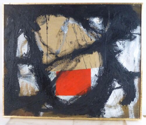 VINTAGE ABSTRACT EXPRESSIONIST NONOBJECTIVE PAINTING MID CENTURY MODERN Signed