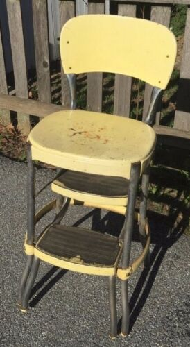 Vintage Cosco Midcentury Yellow Kitchen Step Stool Chair Sturdy but Rough Cond
