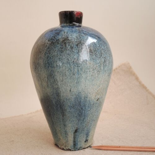 "Old Chinese Jar 9"" Blue Hare's Fur Glaze Meiping Vase Song Dynasty China Antique"