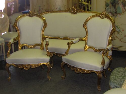 Early 20th C.  Fine Gilded Ornate French Rococo Revival Settee Canapé and Chairs