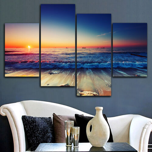 Framed stretched canvas prints seascape print Sunset beach modern art wall ocean