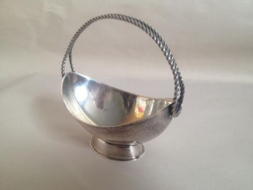 Antique European Silver Bon Bon  Jewelry Candy  Dish Basket With  Braided Handle