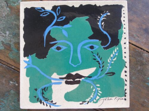 Vintage Mid-Century Fulham Pottery John Piper Tile, Screen Printed Stylized Face
