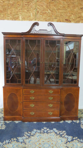 Baker Chippendale China Cabinet Breakfront Mahogany Beautiful