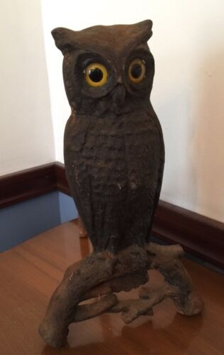 """Antique Cast Iron Owl Andiron Firedog Candle Holder Amber Color 15""""h 12""""d X 9""""l"""