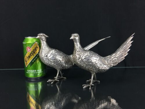 Wonderful & Realistic Antique Pair of Sterling Silver Male & Female Pheasants