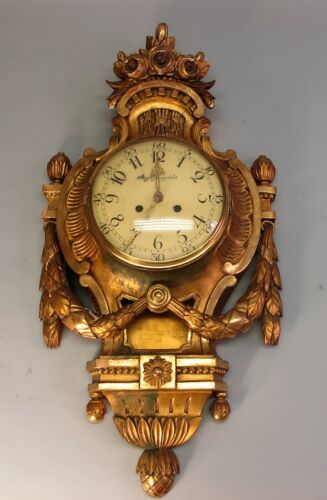 Fine Early 19th C. SWEDISH GILTWOOD CARTEL CLOCK by JUNGQUIST  c. 1830  antique