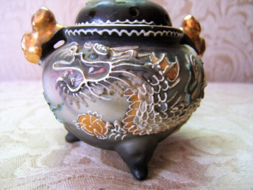 Rare Vtg Foo Dog Incense Burner Fine Moriage Dragonware 1950's Shofu Japan