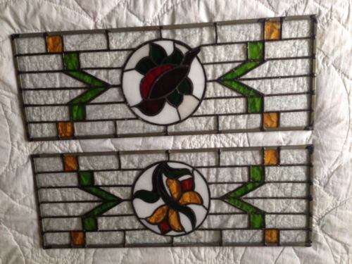 SET  Panel Leaded Stained Glass Flowers Bird EXCELLENT