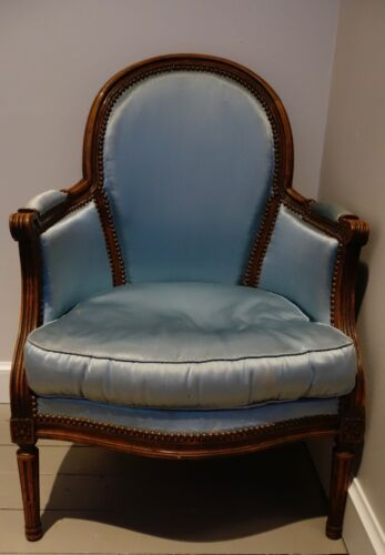 gorgeous Antique 19th Century French bergere walnut Chair sky blue