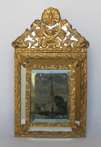 ANTIQUE FRENCH ORNATE WALL CUSHION MIRROR from the mid-late 1800s