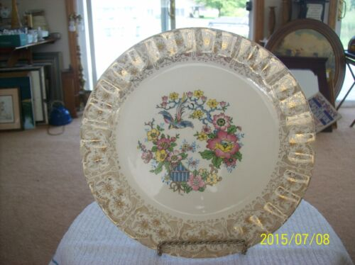 The Cronin China Company Floral Bird Charger Plate With Gold Lattice Work Trim