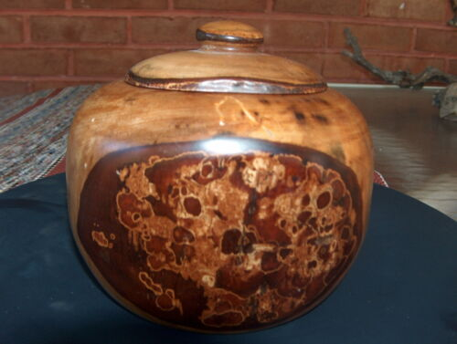 EXOTICLY BEAUTIFUL LARGE HAND CARVED WOOD BOWL/VASE/TRINKET BOX WITH LID