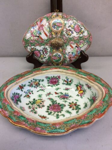 19th C Chinese Rose Medallion Covered Dish, Bowl