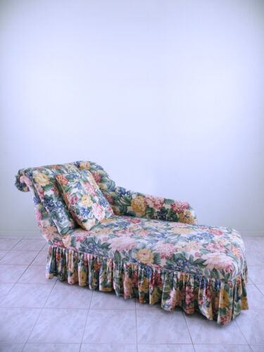DECO french hollywood regency FLORAL shabby chic BOUDOIR rollback chaise lounge