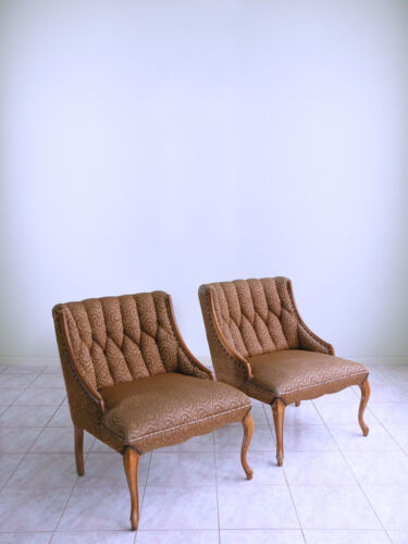 mid century HOLLYWOOD REGENCY french provincial tufted nailhead slipper chairs