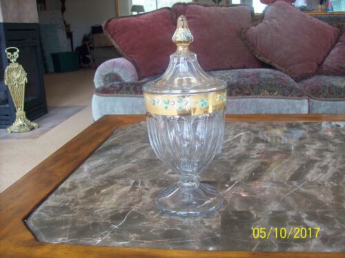 Victorian Clear Glass Covered Compote with Handpainted Enamel Flowers & Gold