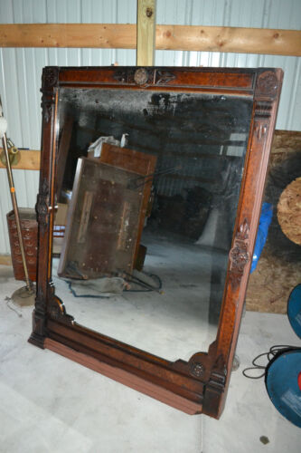 Large Antique Victorian Eastlake ornate Carved Wood Framed wall mirror Mantle