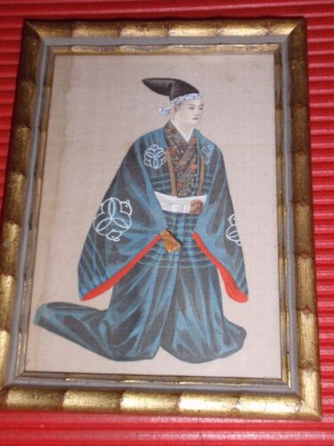 """ANTIQUE ORIGINAL PAINTING ON SILK ASIAN MAN ON HIS KNEES IN ROBE & HAT 6.5X4.75"""""""