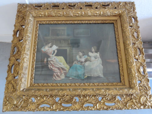 ANTIQUE ORNATE CARVED WOOD PICTURE FRAME WITH GLASS