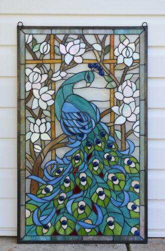 """20"""" x 34"""" Large Handcrafted stained glass peacock window panel"""