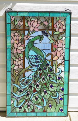 "20"" x 34"" Large Tiffany Style stained glass peacock window panel"