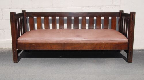 ANTIQUE JM YOUNG MISSION SETTLE - COUCH - ARTS AND CRAFTS!