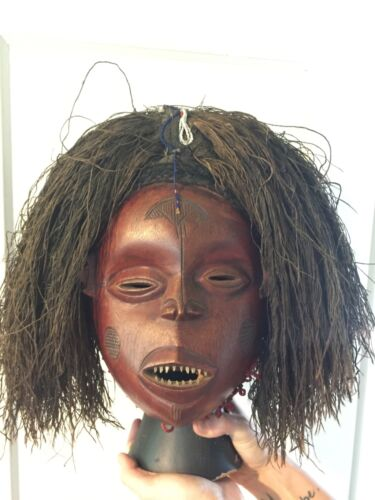 RARE - African Antique Luvale Angola Handcarved Mask
