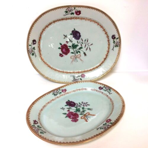 Pair of 18th Century Chinese Export Porcelain Nesting Platters With Rose Decor