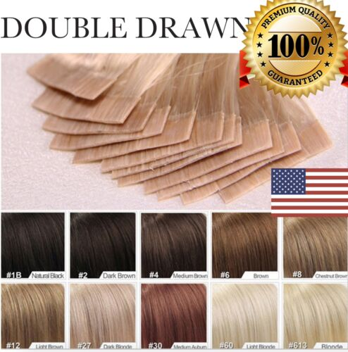 """US 7A Tape In 100% Remy Human Hair Extensions 100% Skin Weft Seamless 16""""-24"""""""