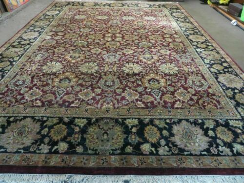 10' X 14' Vintage Hand Made Indian Agra  Wool Rug