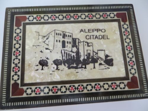 Vintage Mosaic Inlay Jewelry Box Mother of Pearl Like Aleppo Citadel Lg. Detail
