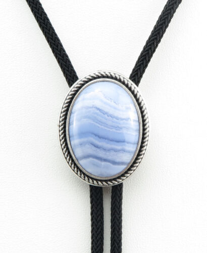 Silver Plated Nature Blue Ripple Stone Western Cowboy Rodeo Neck Bolo Tie