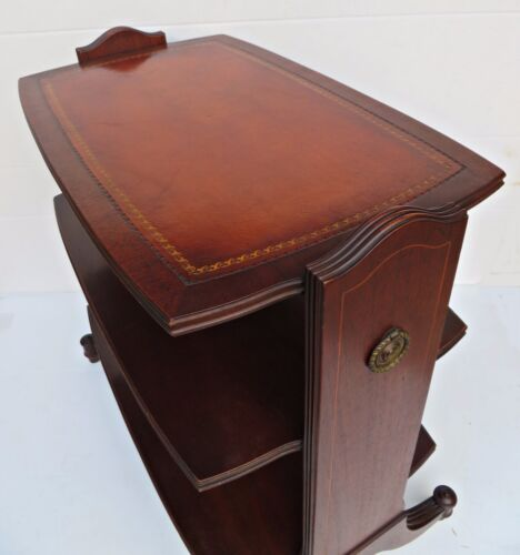 Vtg 1950's Heritage Henredon HH Side End Table Shelf Mahogany Wood Leather Top