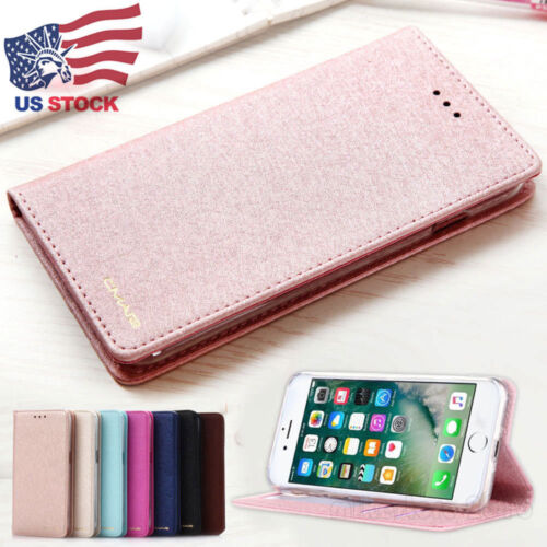 Luxury Wallet Silk Leather Flip Case SLIM Stand Cover For iPhone X 8 7 6S Plus
