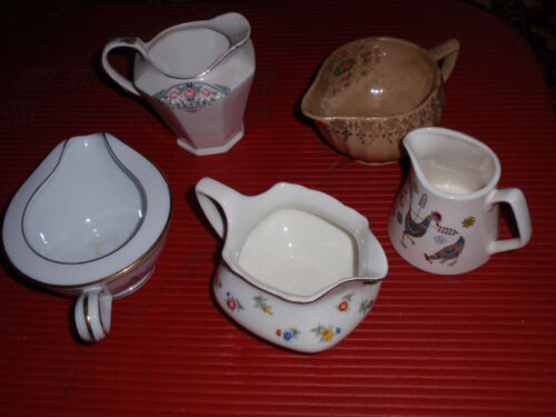 LOT OF FIVE VINTAGE CREAMERS SEBRING/NORITAKE/SERON/W.S.GEORGE