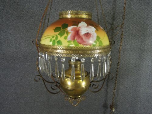 Antique Juno Miller Parlor Converted Hanging Lamp Floral Glass Shade Crystals
