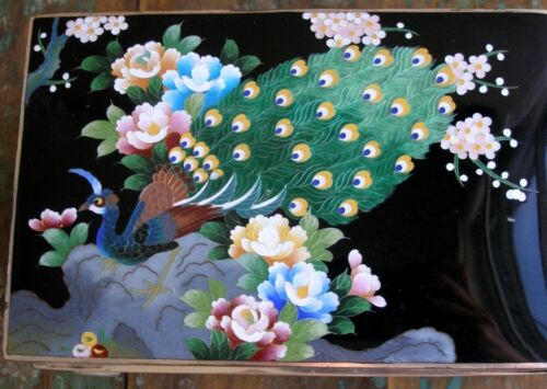 Antique Peacock Blossom Cloisonne Black Enamel Music Jewlery Box, Signed Inaba