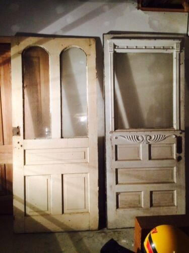 antique exterior doors  3'x7' some antique hardware included
