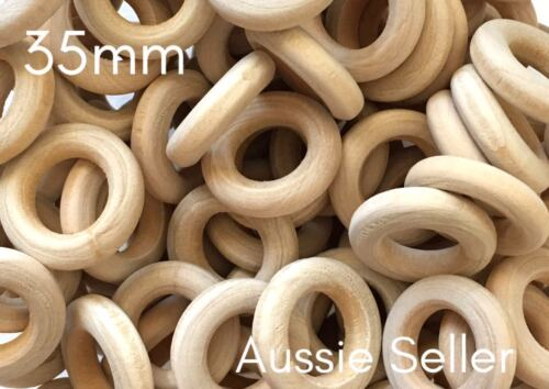 10x natural 35mm unfinished wood round rings jewellery wooden macrame DIY crafts